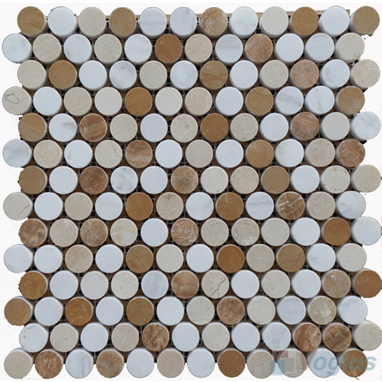Beige Gold Polished Round Circle Marble Stone Mosaic VS-PRD96