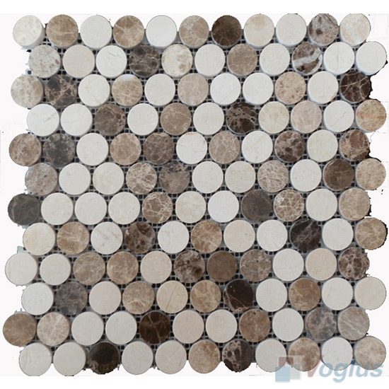 Emperador Cream Polished Round Circle Marble Stone Mosaic VS-PRD98