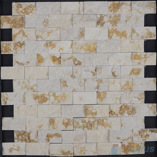 Golden Beige Natural Split Face Brickjoint Marble Mosaic VS-PSL99