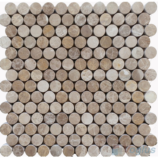 Light Emperador Polished Round Circle Marble Stone Mosaic VS-PRD97