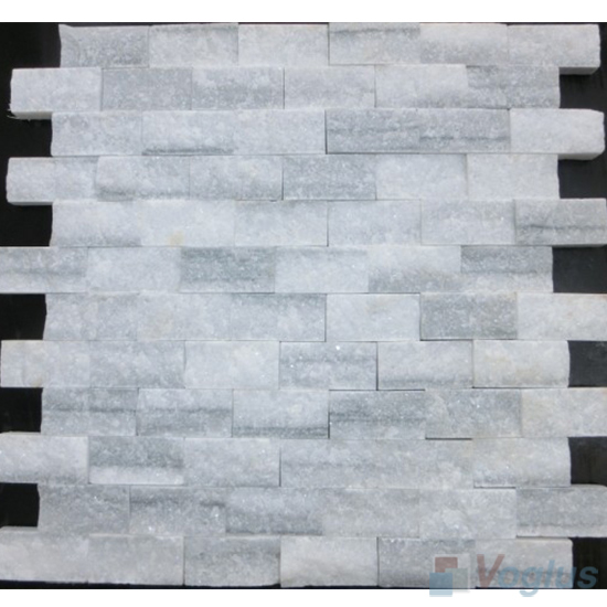 Line White Natural Split Face Brickjoint Marble Mosaic VS-PSL98