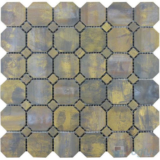 Octagon Copper Metal Mosaic VM-CP96