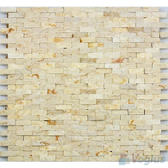 Sunny Beige Natural Split Face Brickjoint Marble Mosaic VS-PSL94