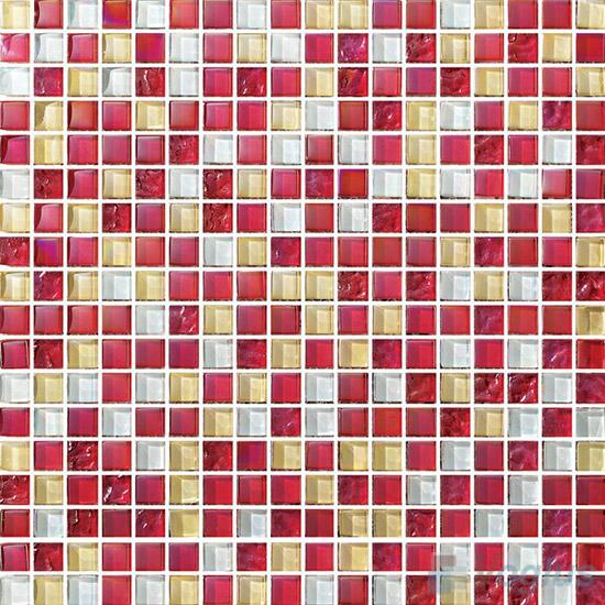 Burgundy 15x15mm Blend Crystal Glass Mosaic VG-CYA85