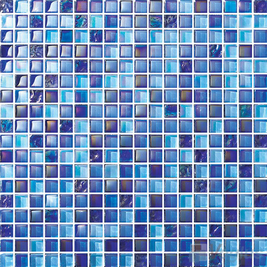 Iridium Blue 15x15mm Blend Crystal Glass Mosaic VG-CYA87