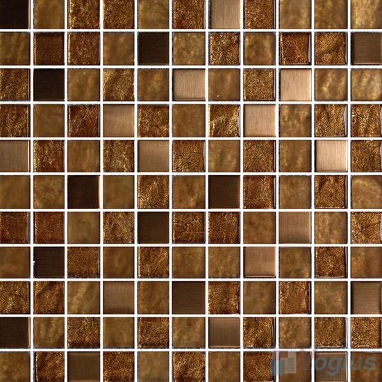 1x1 Gold Leaf Glass Mosaic Tile Vg Gfb76 Voglus Mosaic