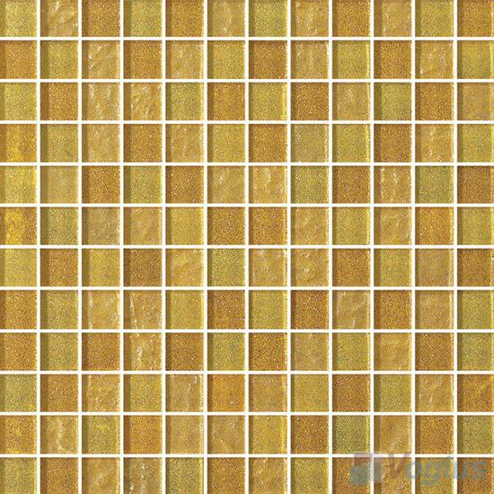 1x1 Gold Leaf Glass Mosaic Tile VG-GFB90