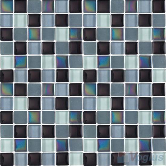 Black Gray 1x1 Blend Crystal Glass Mosaic Tiles VG-CYR86