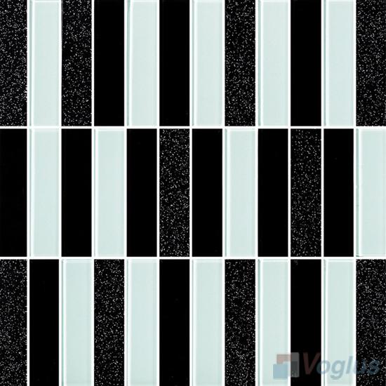 Black White 1x4 Stream Linear Crystal Glass Mosaic VG-CYY95