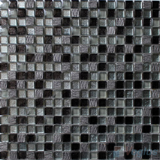 Blacky 15x15mm Hand Painted Glass Mosaic Tiles VG-HPA94