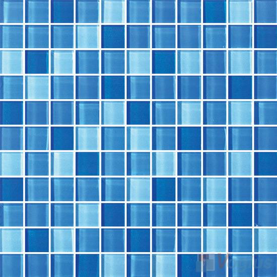 Blue 1x1 Blend Crystal Glass Mosaic Tiles VG-CYR99