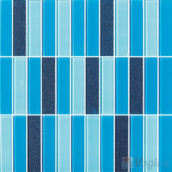 Blue Blend 1x4 Stream Linear Crystal Glass Mosaic VG-CYY99