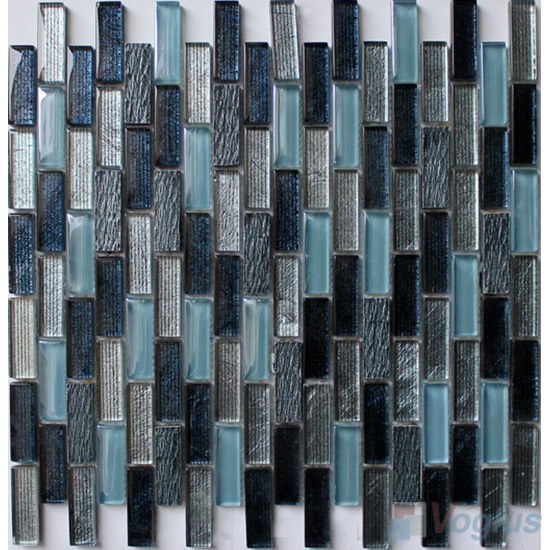 Blue Mix Subway Hand Painted Crystal Glass Tiles VG-HPC93