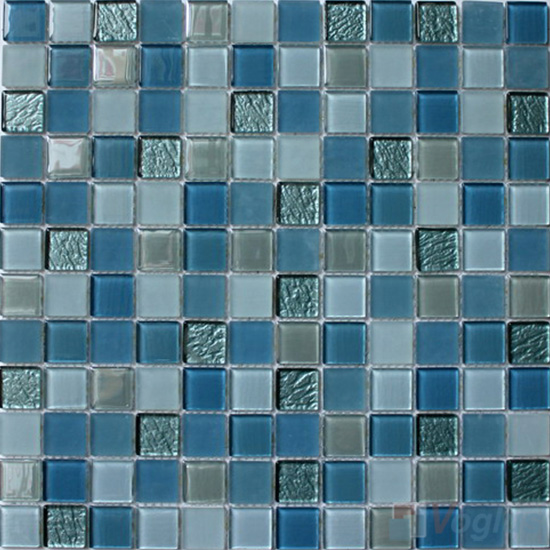 Blue Mixed 1x1 Crystal Glass Tiles VG-CYB92