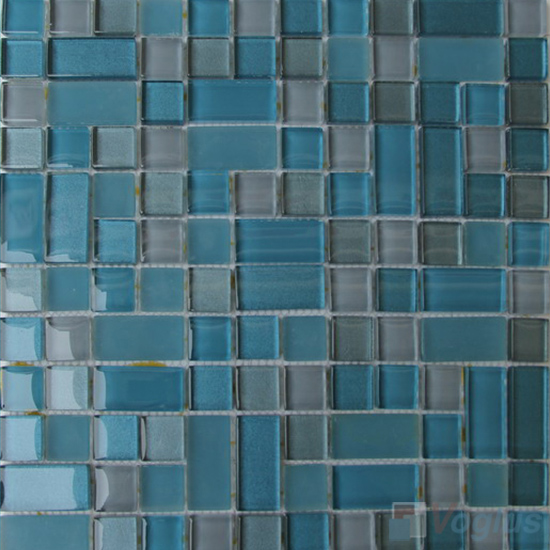 Bondi Blue Twingrace Crystal Tile Glass Mosaic VG-CYQ99
