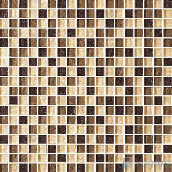 Brown Beige 15x15mm Gold Leaf Glass Mosaic VG-GFA95