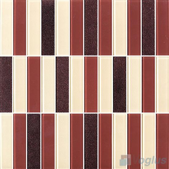 Brown Blend 1x4 Stream Linear Crystal Glass Mosaic VG-CYY98