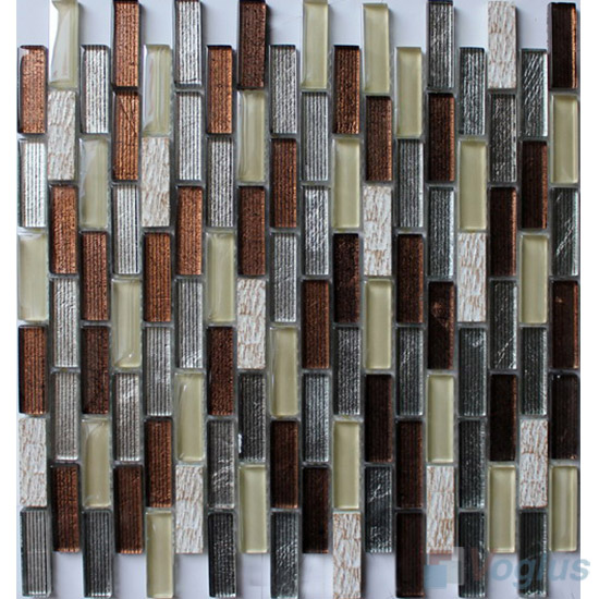 Brown Mix Subway Hand Painted Crystal Glass Tiles VG-HPC92