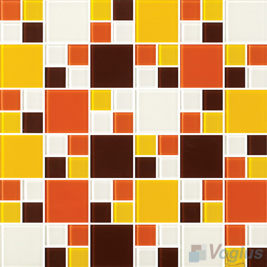Brown Orange Miscellaneous Crystal Glass Mosaic Tiles VG-CYS88