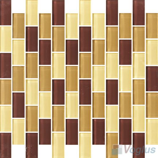 Browny 1x2 Subway Brick Glass Tiles VG-CYD99