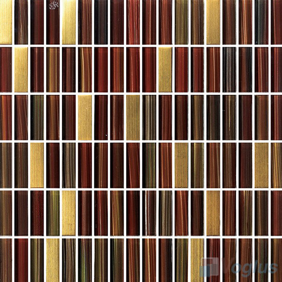 Burt Umber Strip Hand Painted Crystal Glass Tiles VG-HPC98