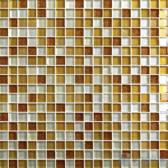 Gold 15x15mm Gold Leaf Glass Mosaic VG-GFA91