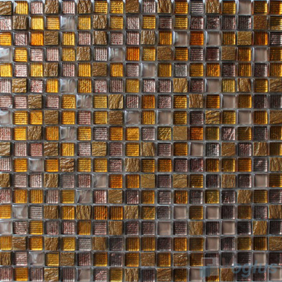 Gold 15x15mm Hand Painted Glass Mosaic Tiles VG-HPA96