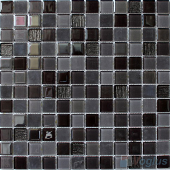 Gray Blend 1x1 Crystal Glass Tiles VG-CYB90