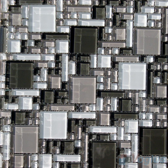 Gray Mix Miscellaneous Crystal Glass Mosaic Tiles VG-CYS93