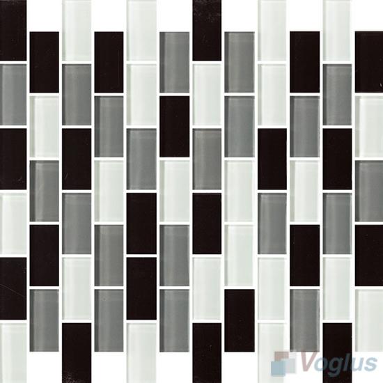 Gray Mixed 1x2 Subway Brick Glass Tiles VG-CYD94