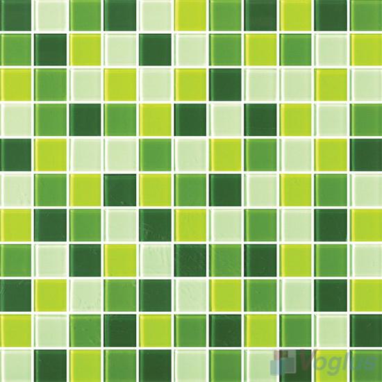 Green 1x1 Blend Crystal Glass Mosaic Tiles VG-CYR98