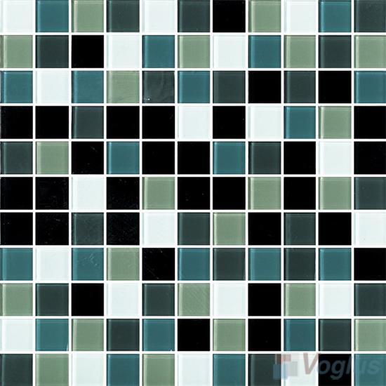 Green Black 1x1 Blend Crystal Glass Mosaic Tiles VG-CYR91
