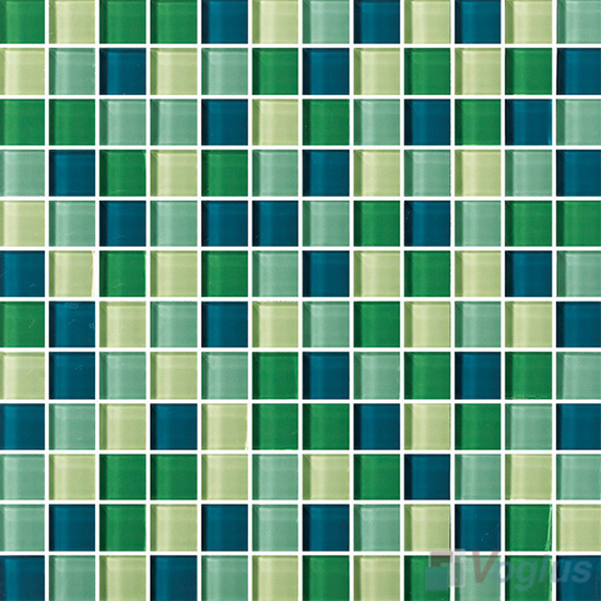 Green Blue 1x1 Blend Crystal Glass Mosaic Tiles Vg Cyr84