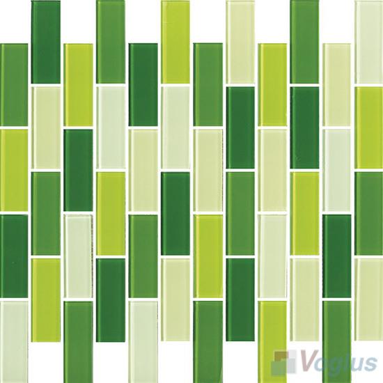 Green Mixed 1x2 Subway Brick Glass Tiles VG-CYD93