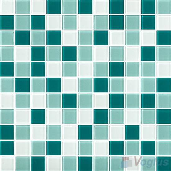 Green White 1x1 Blend Crystal Glass Mosaic Tiles VG-CYR96