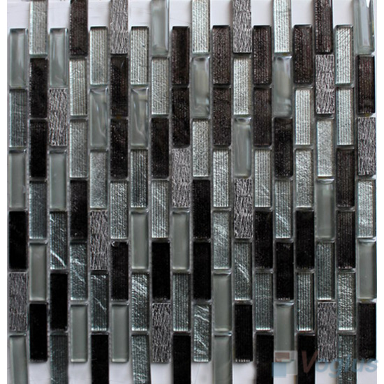 Grey Mix Subway Hand Painted Crystal Glass Tiles VG-HPC91