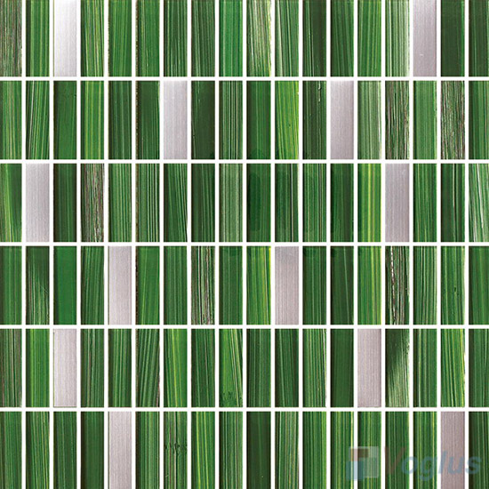 Office Green Strip Hand Painted Crystal Glass Tiles VG-HPC96
