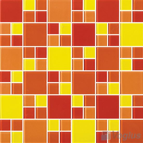Orange Yellow Miscellaneous Crystal Glass Mosaic Tiles VG-CYS89