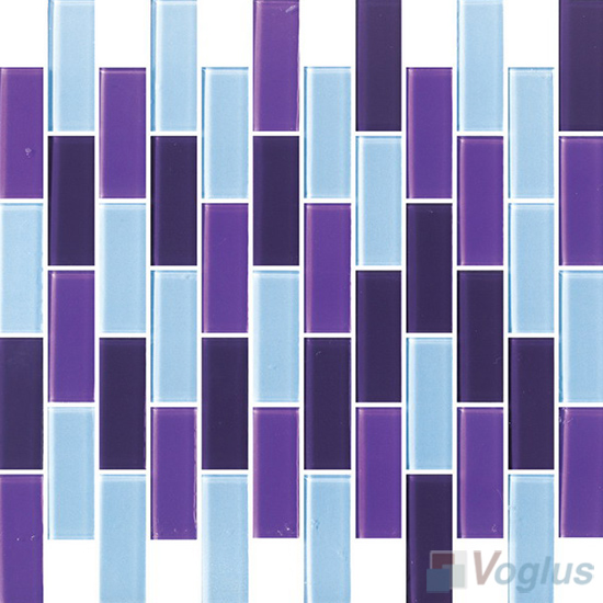 Purple Mixed 1x2 Subway Brick Glass Tiles VG-CYD92