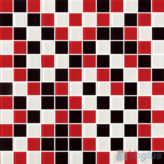 Red Black 1x1 Blend Crystal Glass Mosaic Tiles Vg Cyr79