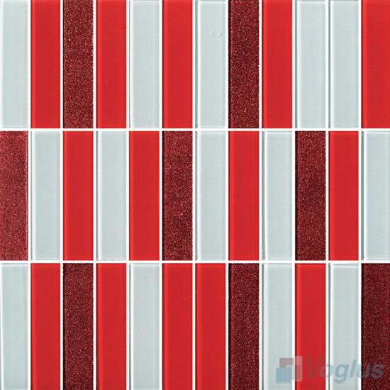 Red Blend 1x4 Stream Linear Crystal Glass Mosaic VG-CYY97