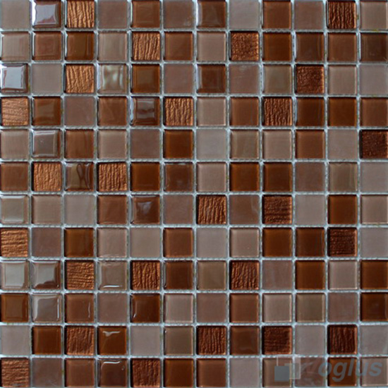 Russet Brown 1x1 Crystal Glass Tiles VG-CYB93