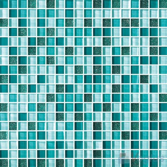 Sea Green 15x15mm Gold Leaf Glass Mosaic VG-GFA92