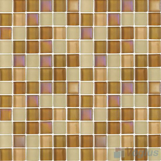 Tan 1x1 Blend Crystal Glass Mosaic Tiles VG-CYR87