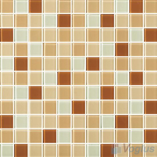 Tan 1x1 Blend Crystal Glass Mosaic Tiles VG-CYR94