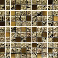1x1 Gold Leaf Glass Mosaic Tile VG-GFB78