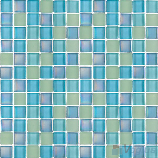 Turquoise 1x1 Blend Crystal Glass Mosaic Tiles VG-CYR88