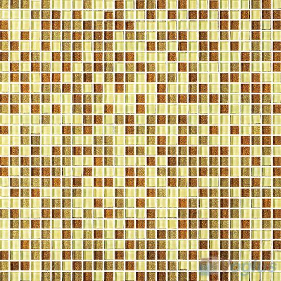 Yellow 10x10mm Gold Leaf Glass Mosaic VG-GFA90