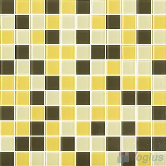 Yellow Brown 1x1 Blend Crystal Glass Mosaic Tiles VG-CYR97