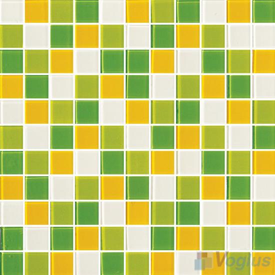 Yellow Green 1x1 Blend Crystal Glass Mosaic Tiles VG-CYR92